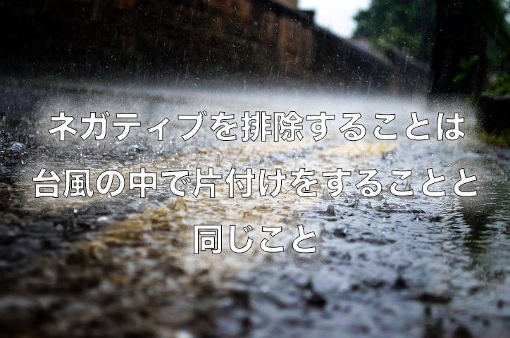 【ネガティブは無くそうとしても無くならない】ネガティブなものを排除する事は台風の中で片付けをするようなもの。